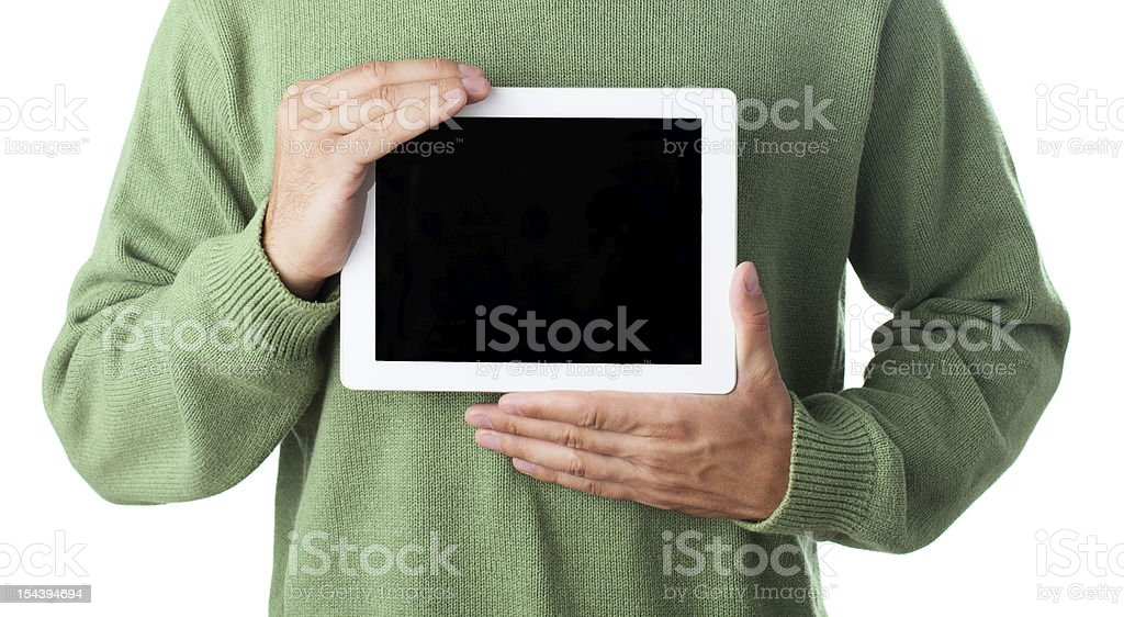 Man hands holding Digital Tablet, isolated on white royalty-free stock photo