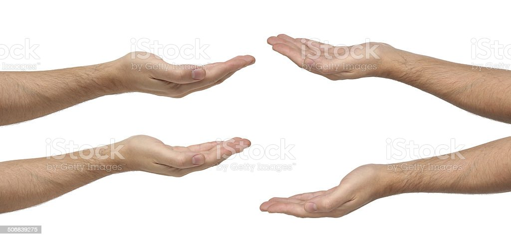 Man hands sign isolated on white background stock photo