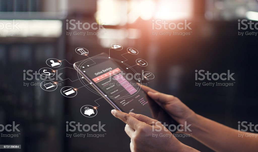Man hands using online banking and icon on tablet screen device in coffee shop. Technology E-commerce Commercial. Online payment digital and shopping on network connection. stock photo