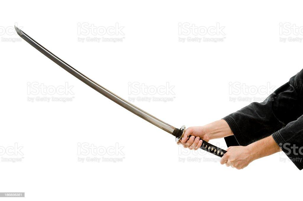 Man hands with katana, isolated on white stock photo
