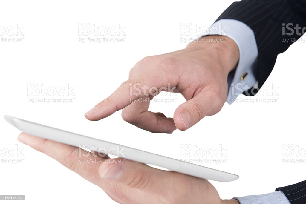 Man hands working on digital tablet royalty-free stock photo