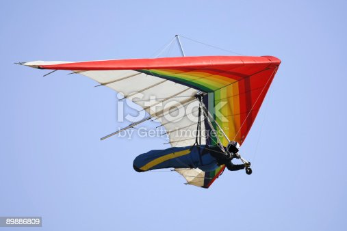 Hang Glider with clear blue sky.SF,Ca