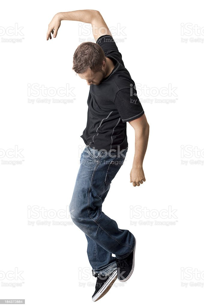Man Hanging On in Mid Air stock photo