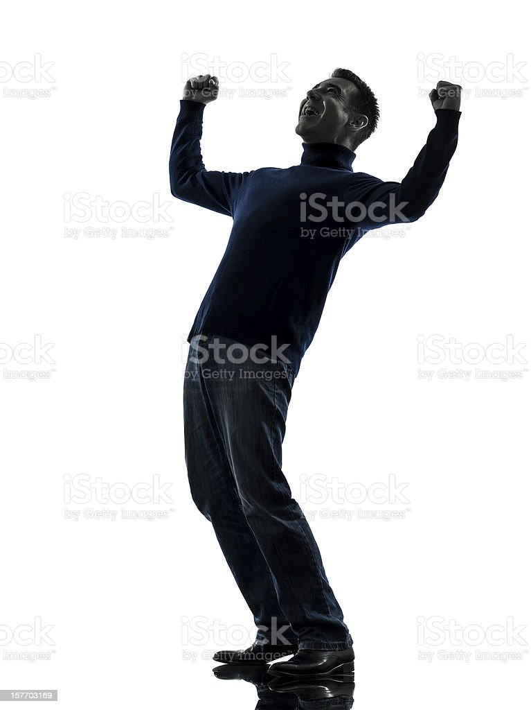 man happy stong victorious silhouette full length royalty-free stock photo