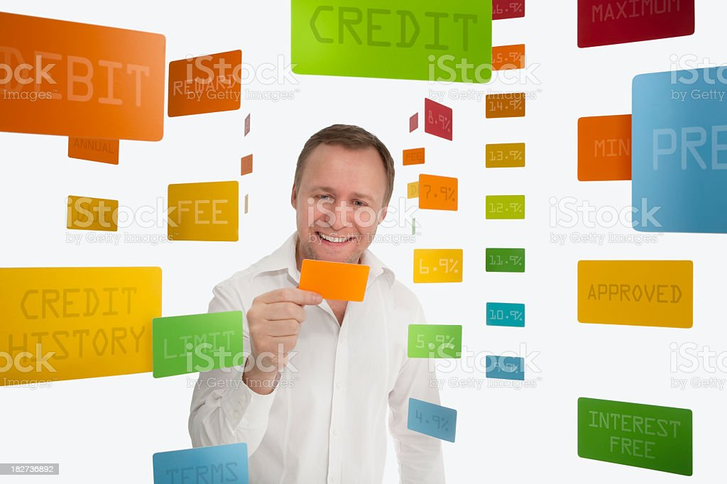 Man happy with credit card royalty-free stock photo