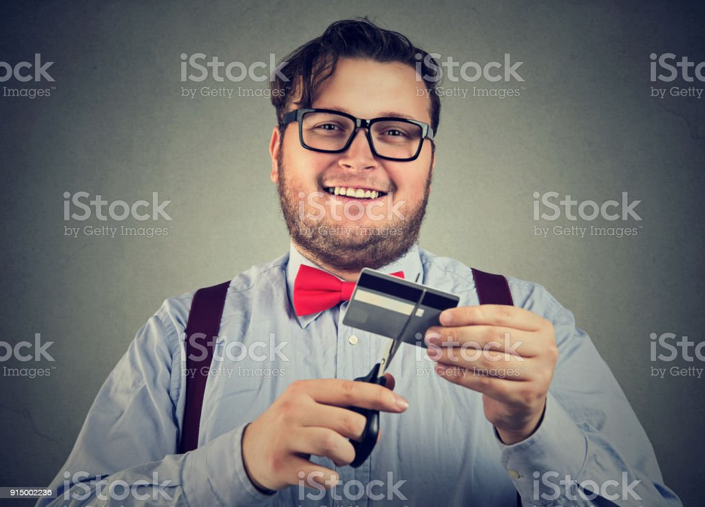 Man happy with credit payout stock photo