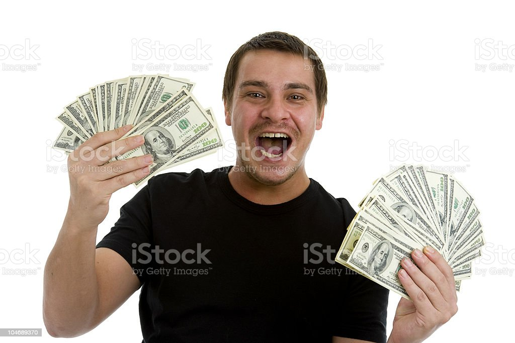 man happy with lots of money  Adult Stock Photo
