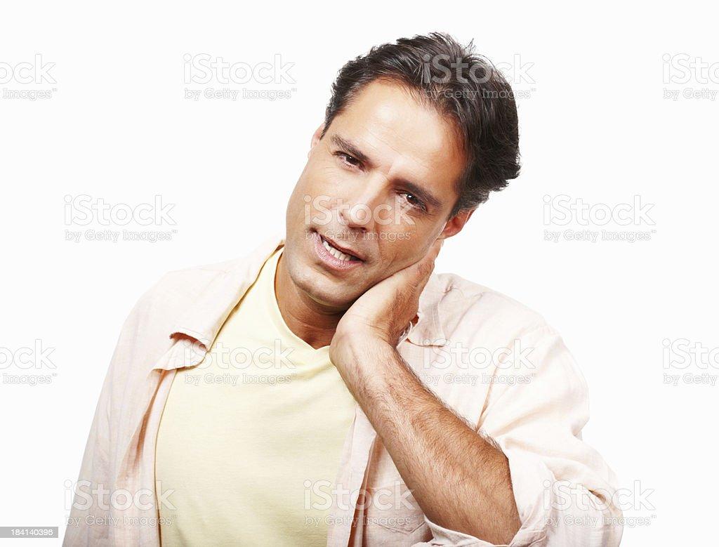 Man having a crick in his neck stock photo