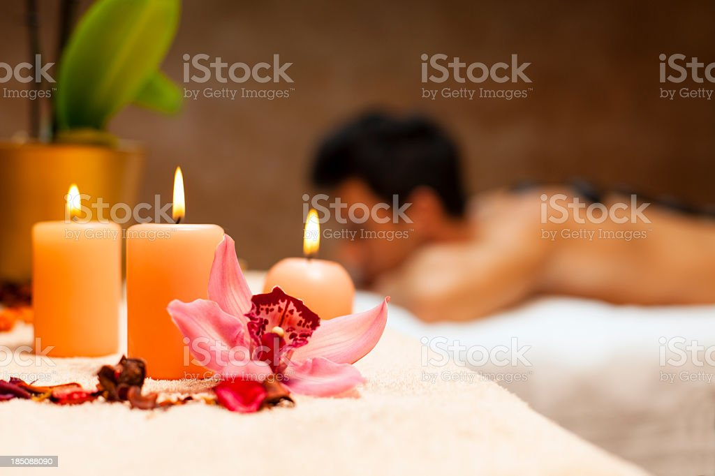 Man having a lastone massage royalty-free stock photo