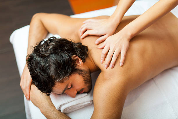Man having a massage stock photo