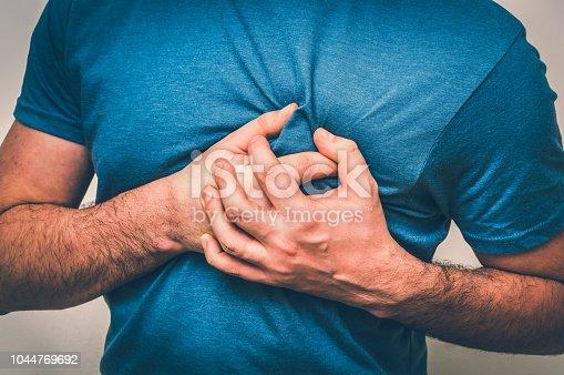 istock Man having chest pain, heart attack 1044769692