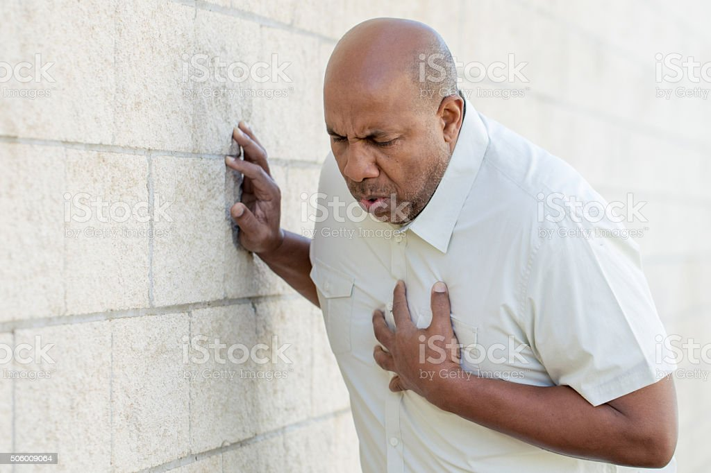 Man Having Chest Pains stock photo