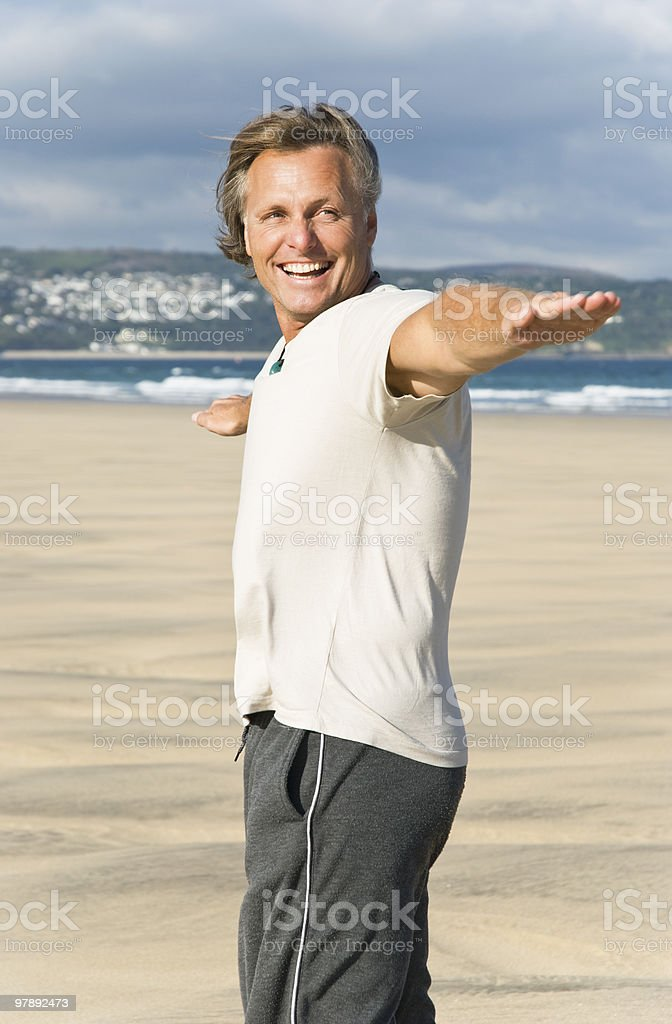 Man having fun on beach. royalty-free stock photo