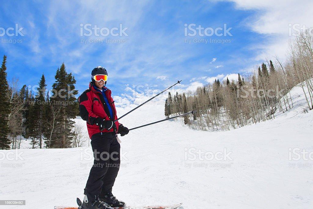Man Having fun on the Ski Slopes royalty-free stock photo