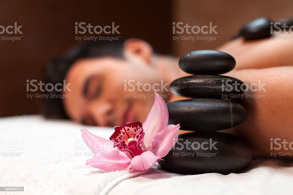 Man having lastone therapy royalty-free stock photo