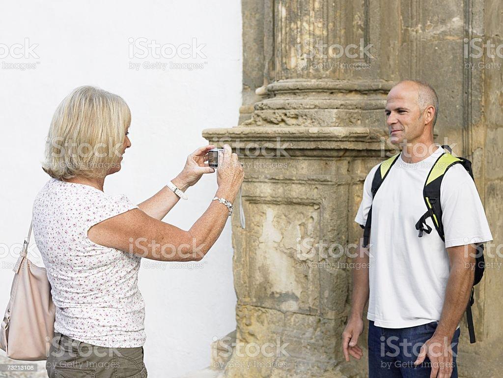 Man having photograph taken royalty-free stock photo