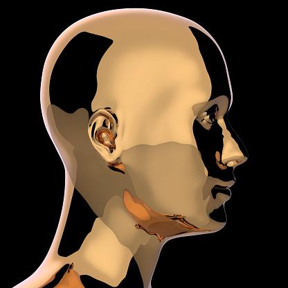 istock Man head golden silhouette stylized metallic polished 1163724767