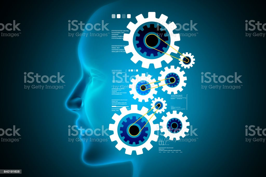 Man head with gear icon stock photo