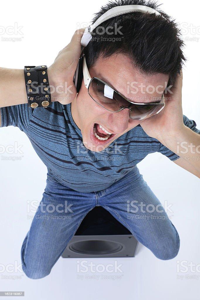Man Headphone Screaming Subwoofer stock photo
