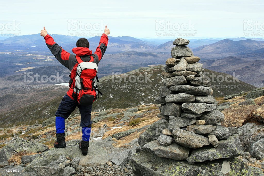 Man Hiker With Thumbs Up on Mountain Summit royalty-free stock photo