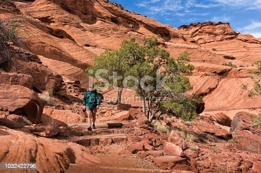 Adult man hikes across sloping red rocks toward the White House Ruins, Canyon de Chelly, Arizona, USA