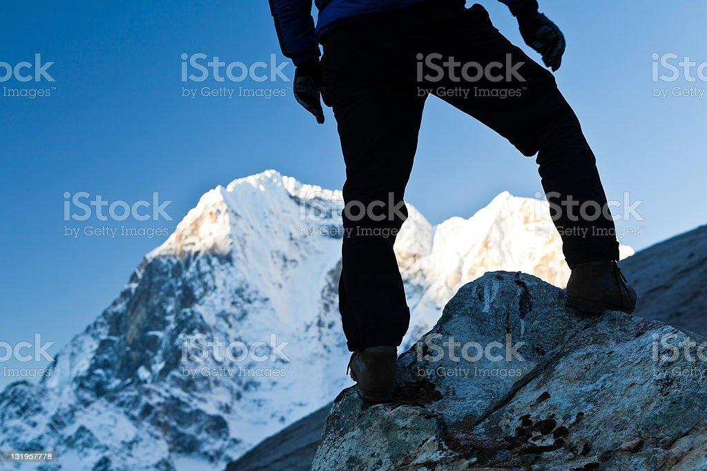 Man hiking in Himalaya Mountains royalty-free stock photo