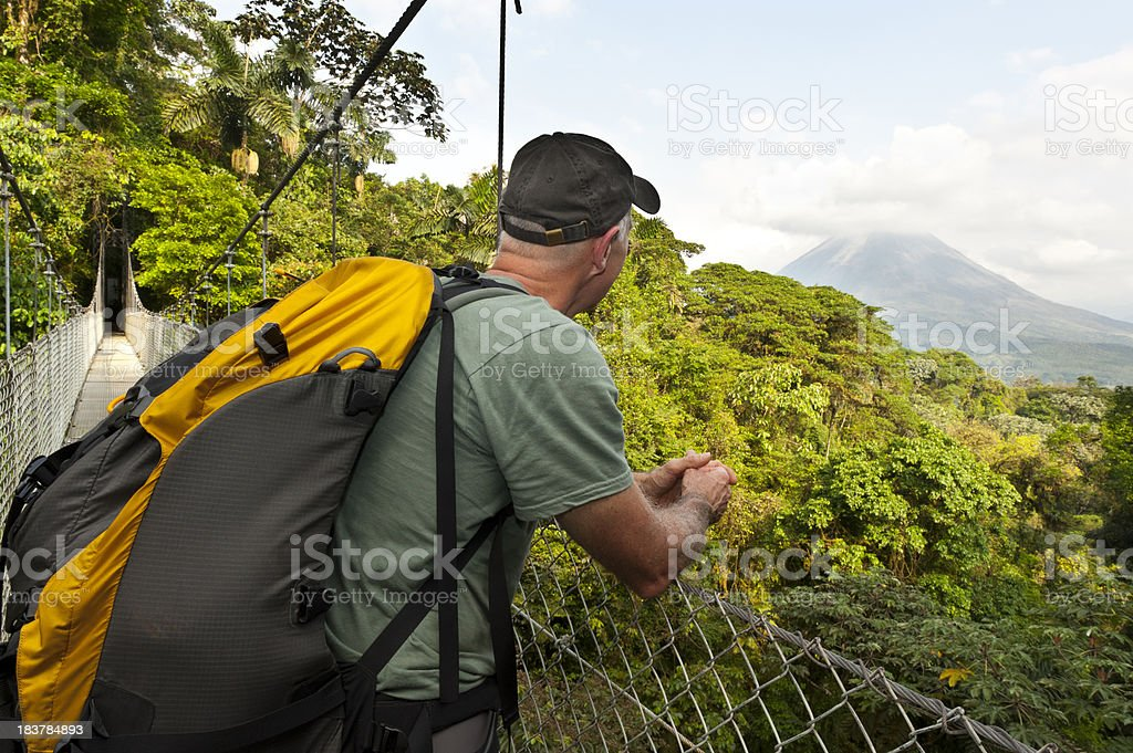 Man hiking in jungle, hanging bridge, Arenal Volcano, Costa Rica stock photo