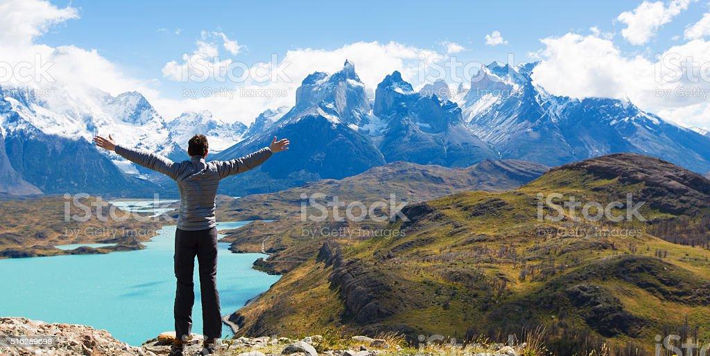 Mann Wandern in Patagonien – Foto