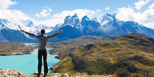 man hiking in patagonia - south america travel stock photos and pictures