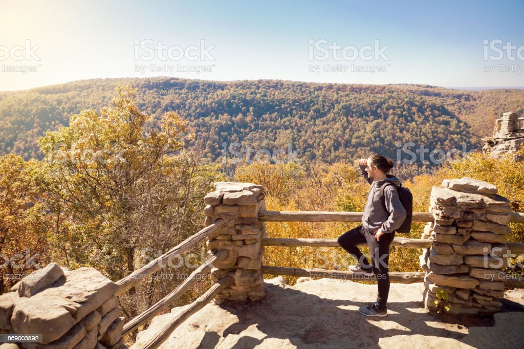 Man Hiking In The Fall Mountains - Royalty-free 45-49 Years Stock Photo