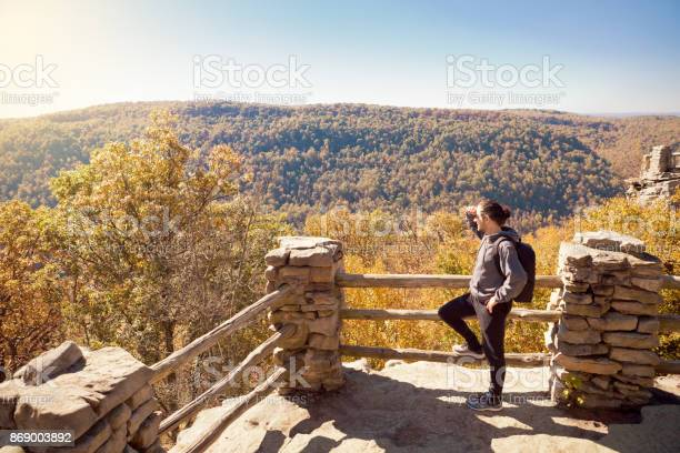 Man Hiking In The Fall Mountains Stock Photo - Download Image Now