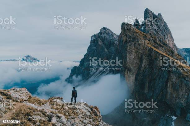 Photo of Man hiking near Seceda mountain in Dolomites