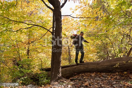Man hiking outside in nature