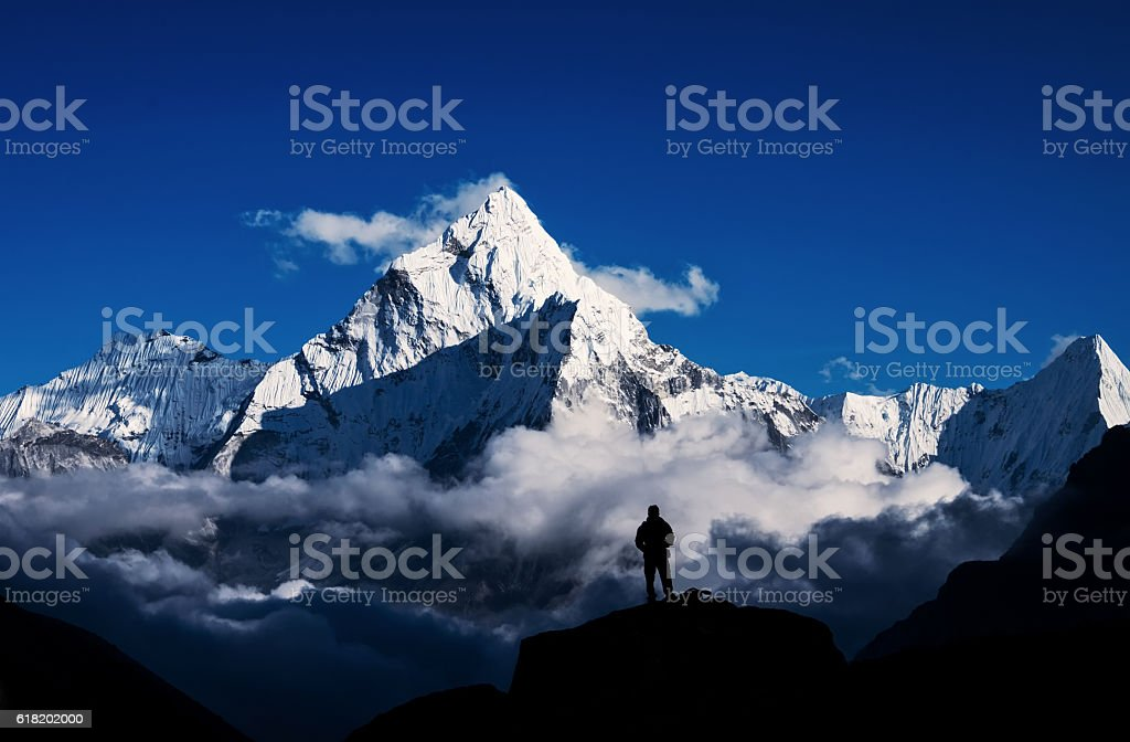 Man hiking silhouette in Mount Everest,Himalayan royalty-free stock photo