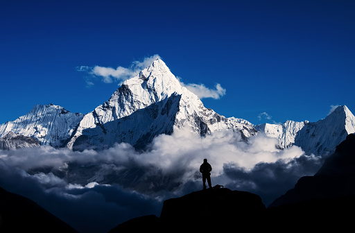 Man Hiking Silhouette In Mount Everesthimalayan Stock Photo - Download Image Now