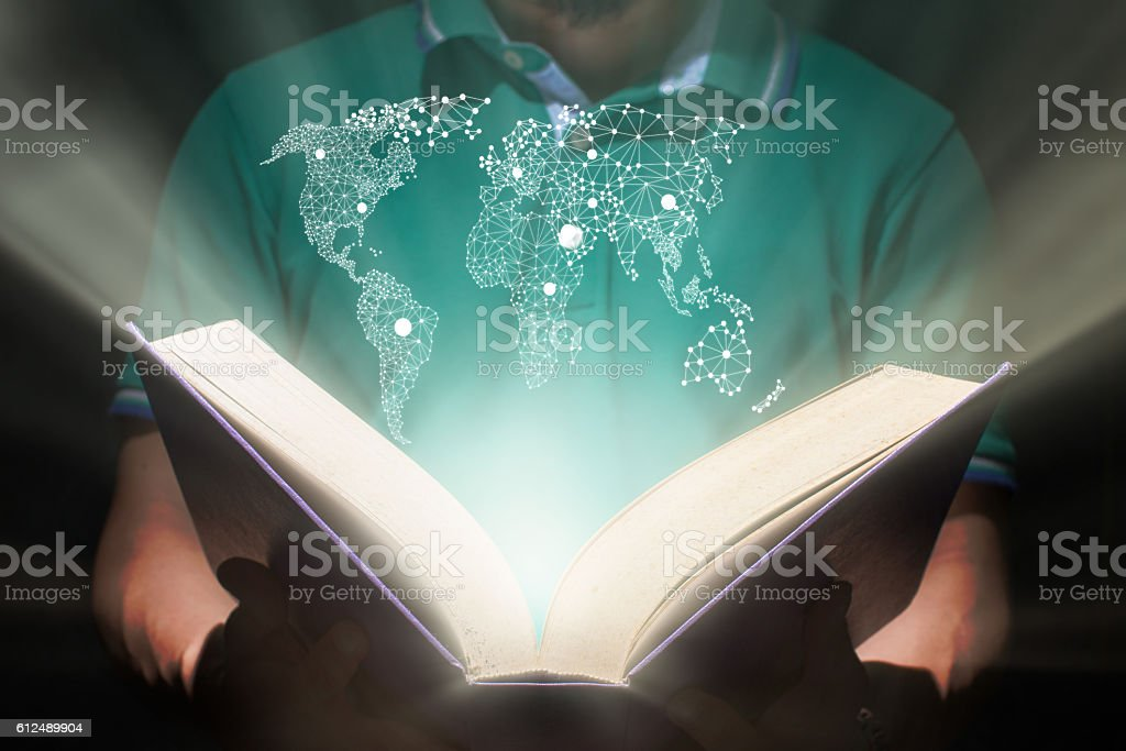 man hold a book,education concept stock photo