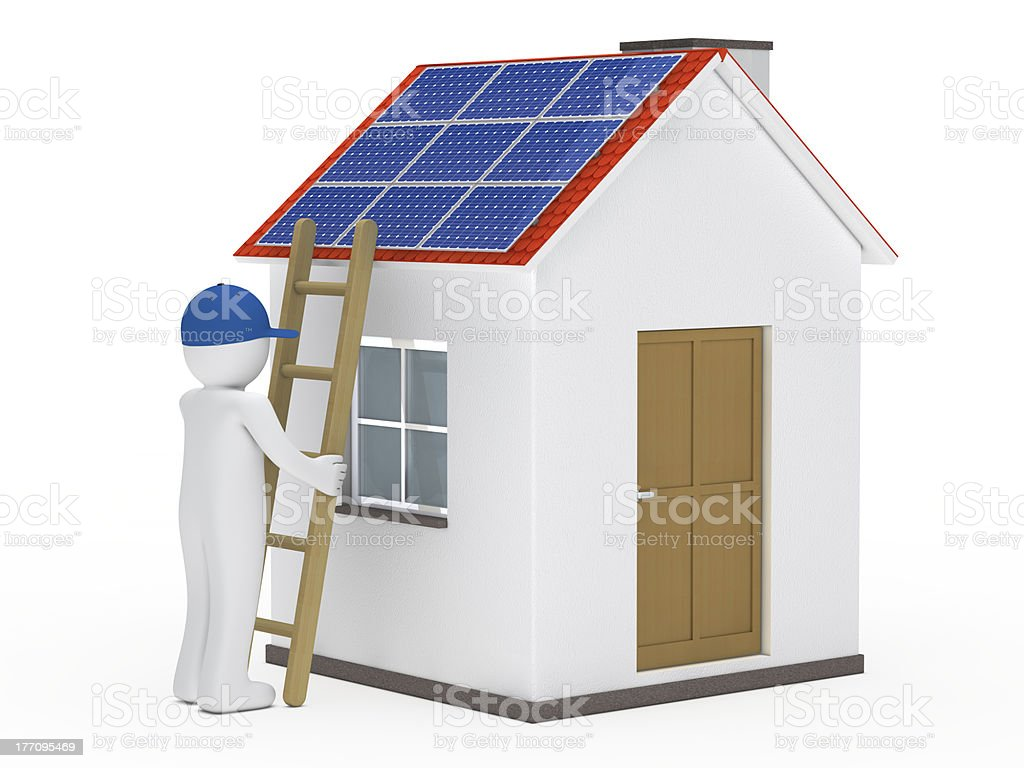 man hold ladder on house royalty-free stock photo