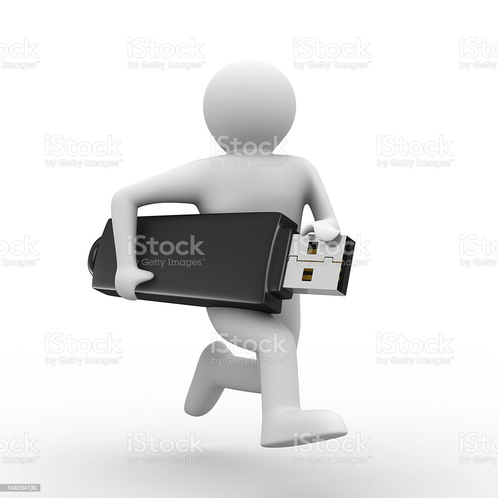 man hold usb flash. Isolated 3d image royalty-free stock photo
