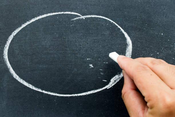 mann halten weißen kreide, etwas am schwarzen brett mit kreis hintergrund zu schreiben (konzept für geschäft oder bildung von haben platz zum hinzufügen von text) - kreidetafel zitate stock-fotos und bilder