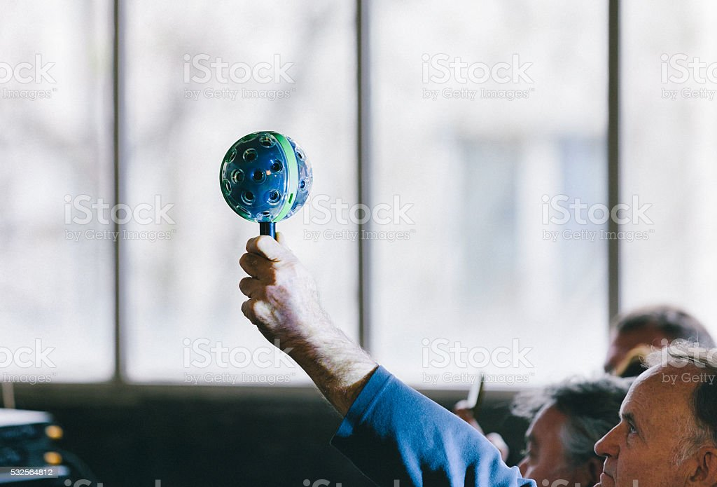 Man Holding 360° Panoramic Ball Camera stock photo