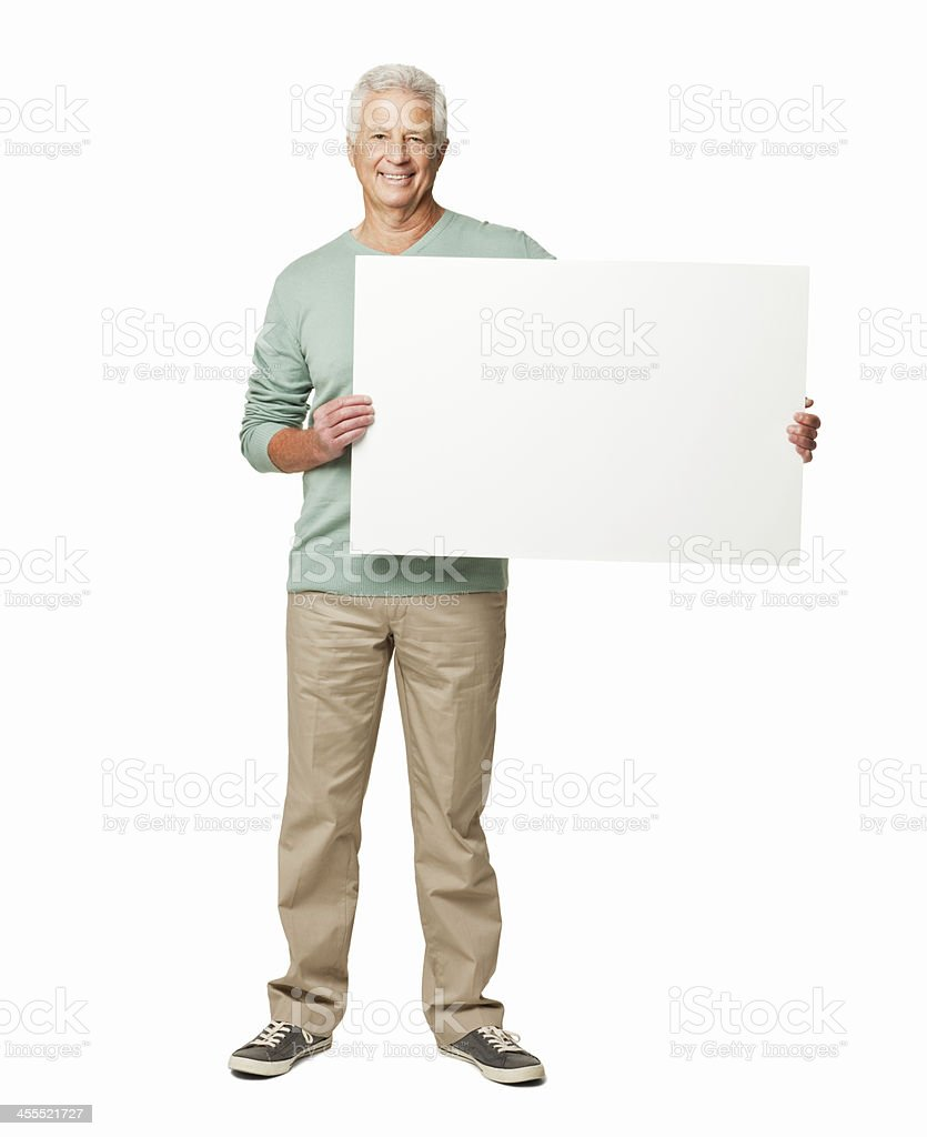 Man Holding a Blank Sign - Isolated stock photo