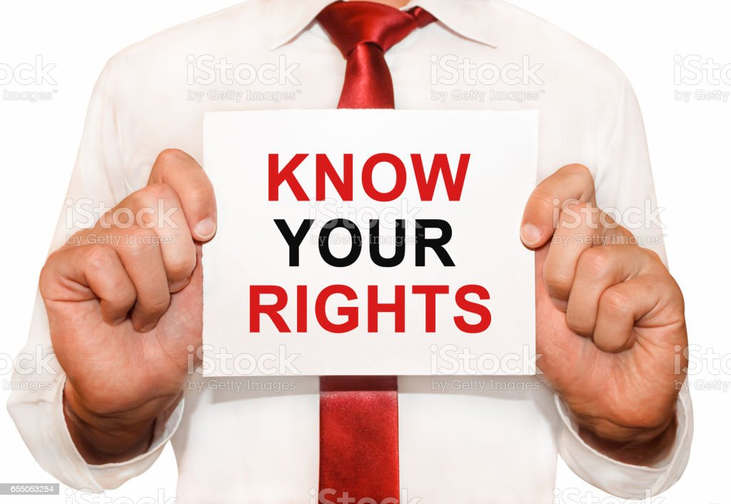 Man holding a card with a text Know Your Rights stock photo