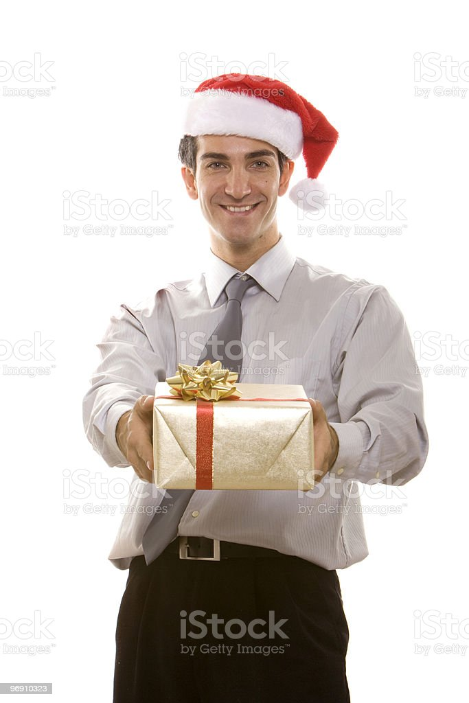 Man holding a Christmas present royalty-free stock photo