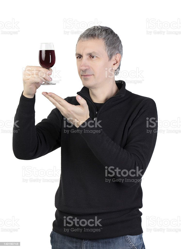 Man holding a glass of red port wine royalty-free stock photo