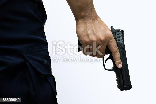 istock Man holding a gun 868559642