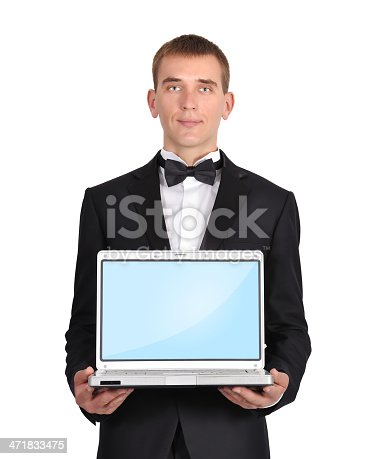 businessman holding a laptop instead of a head