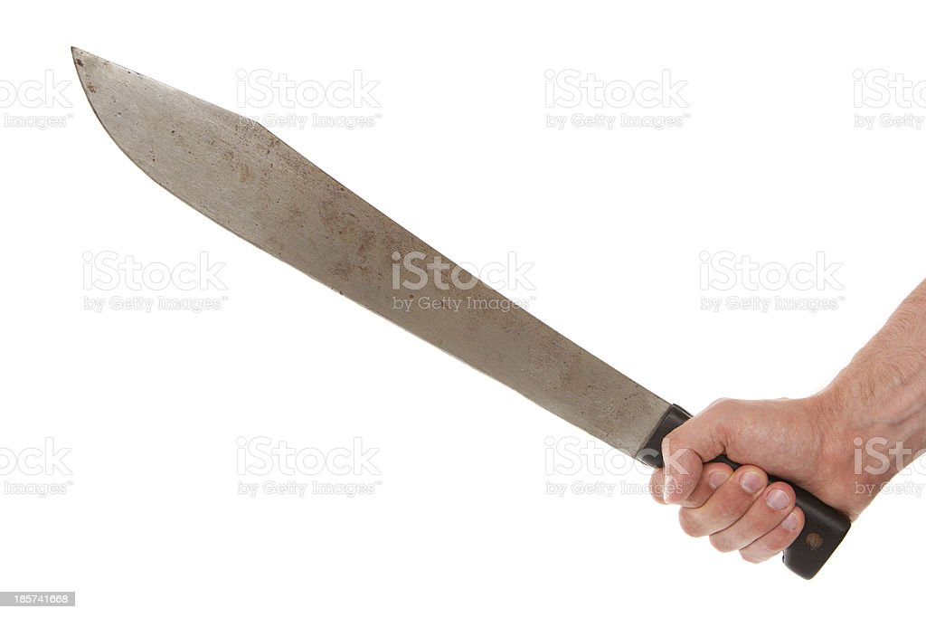 Man holding a machete royalty-free stock photo