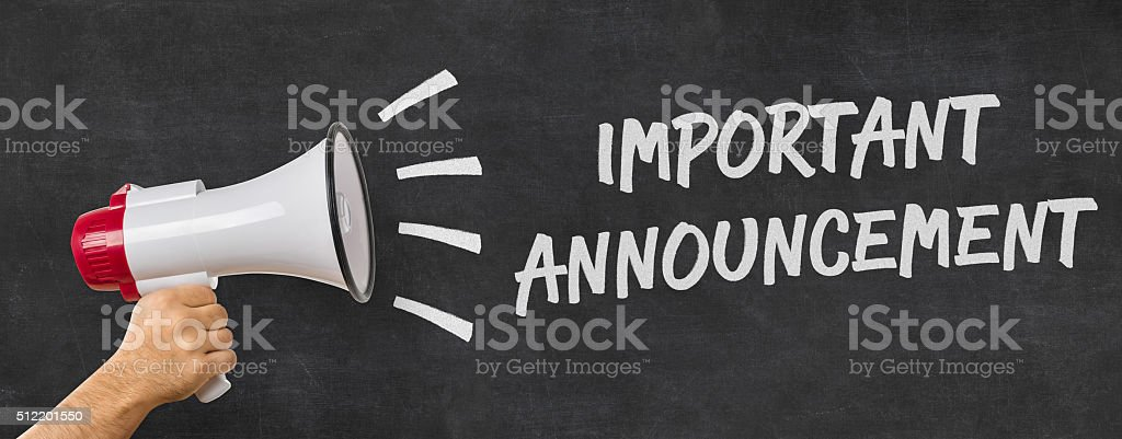 Man holding a megaphone - Important announcement stock photo