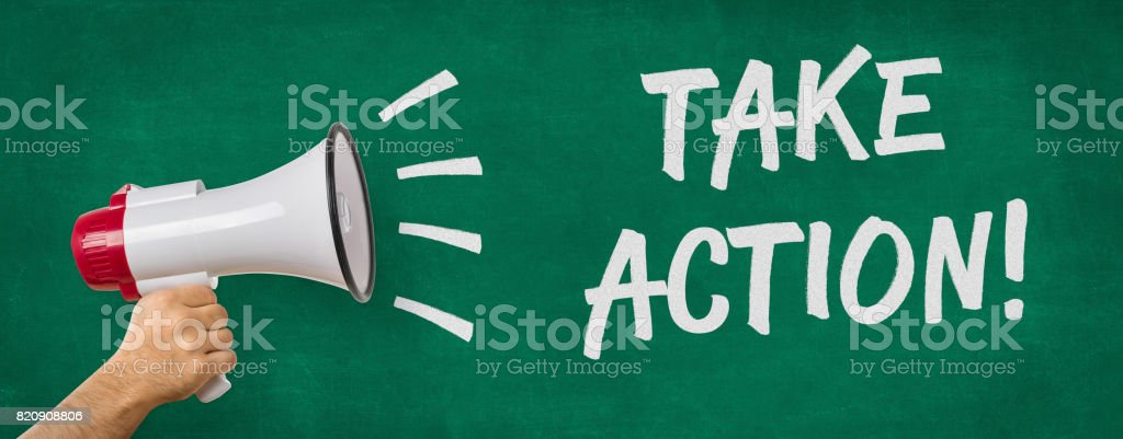 A man holding a megaphone - Take action stock photo