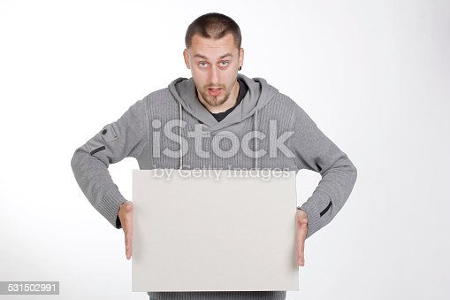 istock Man Holding a Paper for Advertisement 531502991